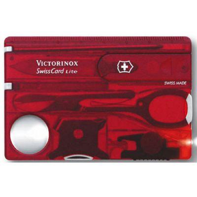 Набор Victorinox дорожный Швейцарская карта SwissCard Lite, 13 функций , полупрозрачный красный 0.7300.T