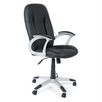 Офисное кресло Тетчер FRANCESCO кож/зам, черный/черный перфорированный