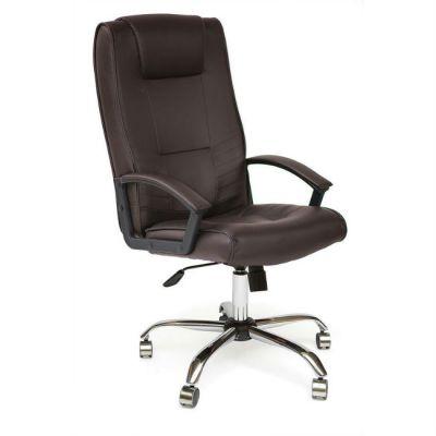 Офисное кресло Тетчер MAXIMA хром кож/зам, коричневый