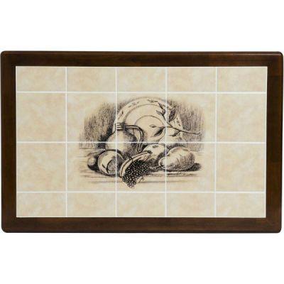"""Стол Тетчер с плиткой Дубай CT 3045 LEG H (ножки Н), Античный белый/Тёмный дуб (Рисунок """"Натюрморт"""")"""