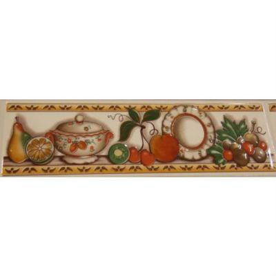 Стол Тетчер с плиткой Багдад СТ 3550, Вишня (Коричнево-белая плитка, периметр- натюрморт)