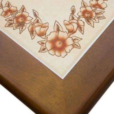 """Стол Тетчер с плиткой Эмир СТ 3760Р LEG D (ножки D), Тёмный дуб (Рисунок по углам - """"цветы"""")"""