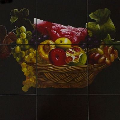 "Стол Тетчер с плиткой СТ 3760Р, Венге (Рисунок ""Корзина с фруктами"")"