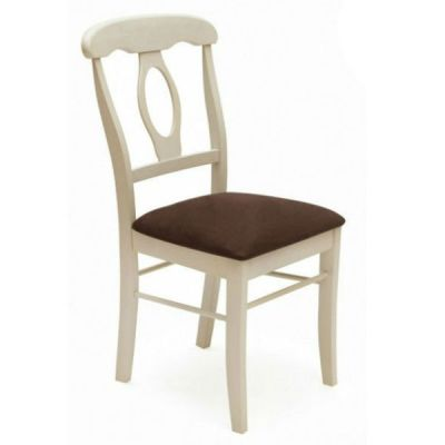 Стул Тетчер Napoleon с мягким сиденьем, Античный белый/Тёмный дуб;Ткань Тёмно-коричневый (массив гевеи)