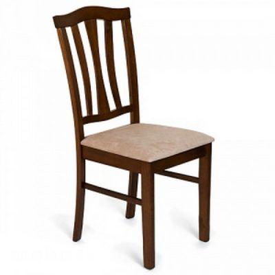 Стул Тетчер СТ 8162 с мягким сиденьем, Тёмный дуб (Dark Oak)/Ткань бежевая (массив гевеи)