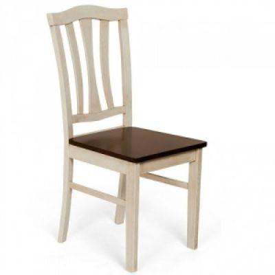 Стул Тетчер СТ 8162 с твёрдым сиденьем, Античный белый(Antique White)/Тёмный дуб (Dark Oak) (массив гевеи)