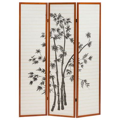 Тетчер Ширма деревянная, орех с цветочным рисунком NY-1033-3