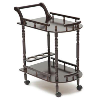Стол Тетчер сервировочный деревянный на колесиках, МДФ, орех, 3512
