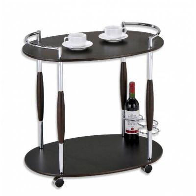 Стол Тетчер сервировочный на колесиках, МДФ с элементами из металла с хромированным напылением, орех, SC-5037-W