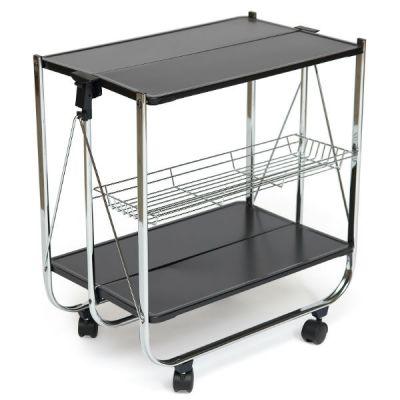Стол Тетчер складывающийся сервировочный на колесиках, из металла с хромированным напылением, черный/хром, SC-5119