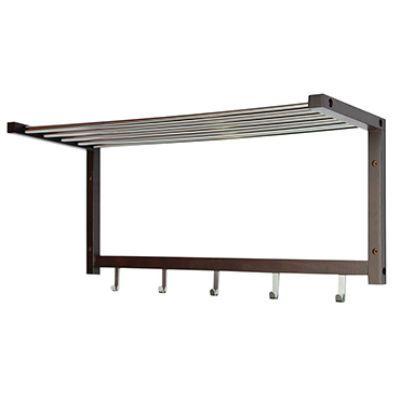 Вешалка Тетчер настенная деревянная, массив Гевеи, сталь, для верхней одежды, Хром/Темный Орех, 581006