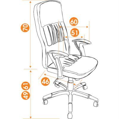 Офисное кресло Тетчер MODENA кож/зам, черный/красный