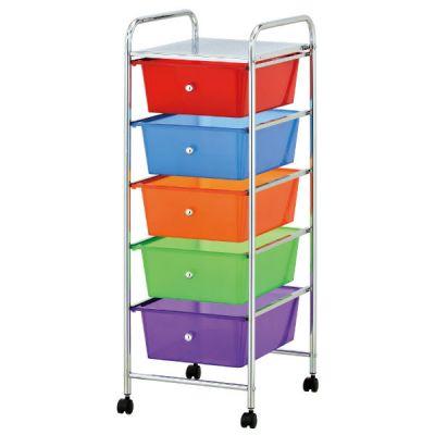 Тетчер Тележка для хранения, 5 ящиков, хром/разноцветные ящики, G 198