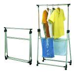 Вешалка Тетчер для гардеробной комнаты, одинарная, раздвижная по высоте и склывающаяся, на колесиках. Хромированная сталь, черный пластик,2042А00