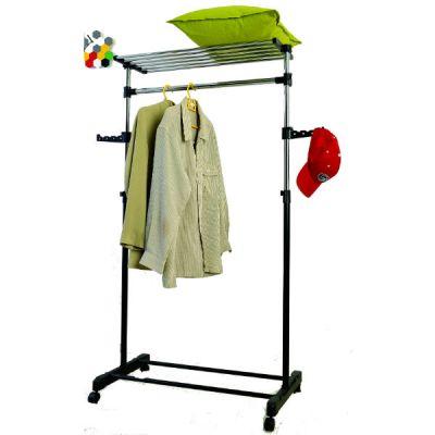 Вешалка Тетчер для гардеробной комнаты, одинарная с полкой и дополнительными держателями, раздвижная по высоте, на колесиках. Хромированная сталь, черный пластик, HG 89