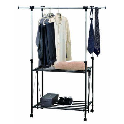 Вешалка Тетчер складывающаяся для гардеробной комнаты, двойная, раздвижная по высоте и ширине, с полками для одежды и обуви, на колесиках. Хромированная сталь,черный пластик, HG 86