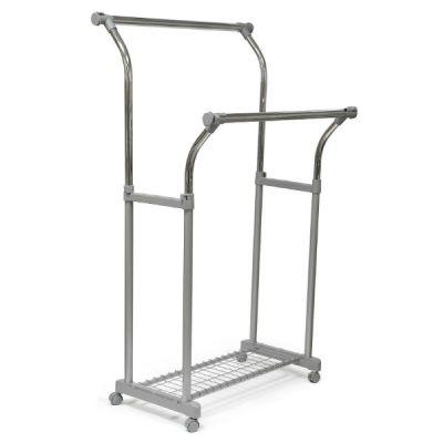 Вешалка Тетчер для гардеробной комнаты, двойная, раздвижная по высоте и длине, с полкой для обуви, на колесиках. Хромированная сталь, серый пластик, CH-4375
