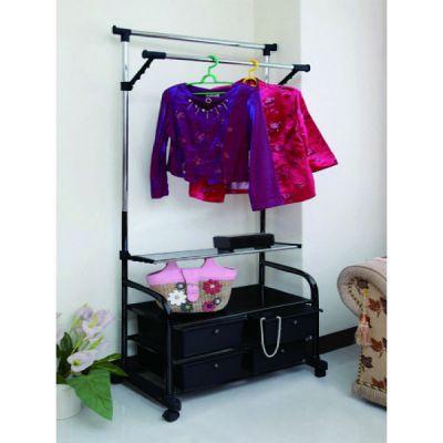 Вешалка Тетчер для гардеробной комнаты, двойная, раздвижная по высоте, с полками и ящиками для одежды и обуви, на колесиках. Хромированная сталь, черный пластик, 16202Е14