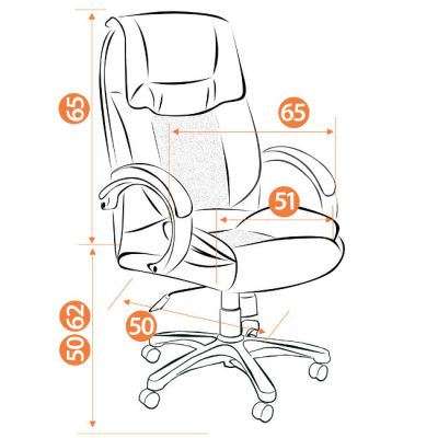 Офисное кресло Тетчер OREON кож/зам, черный/красный
