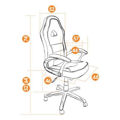 Офисное кресло Тетчер PILOT кож/зам+ткань, черный+синий