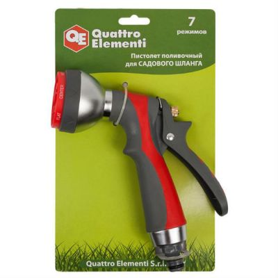 Quattro Elementi Пистолет поливочный 7-ми режимный, металл + мягкий пластик 646-157