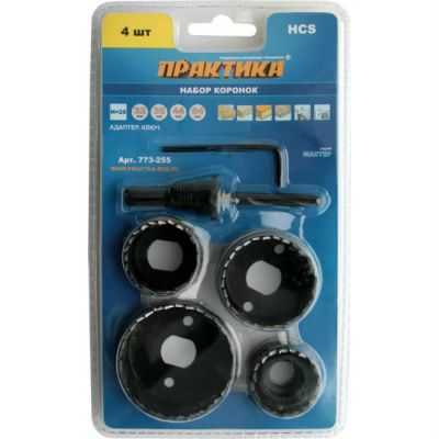Набор Практика HCS коронок 4 шт 32, 35, 44, 54 мм + адаптер 773-255