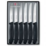 Victorinox Набор ножей Swiss Classic столовый заточка: серрейторная, черный (6шт) подарочная коробка (6.7333.6G)