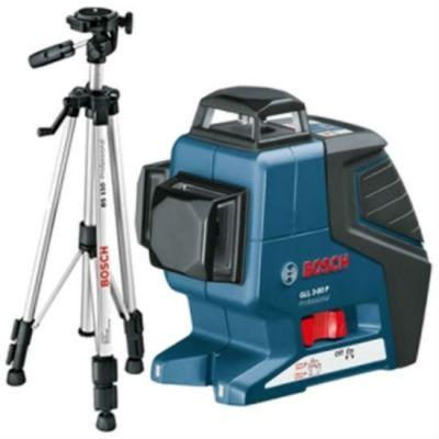 Нивелир Bosch лазерный линейный GLL 3-80 P 0601063306 + штатив BS 150 (линейн, 3 плоск, 80 м, точн.0,3 мм/м, 0,76 кг, чехол)