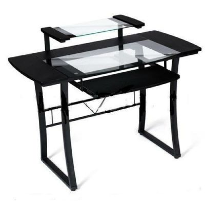 Стол Тетчер WRX-05 прозрачное стекло, черный МДФ/черный каркас