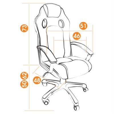 Офисное кресло Тетчер RACER кож/зам/ткань, черный/синий