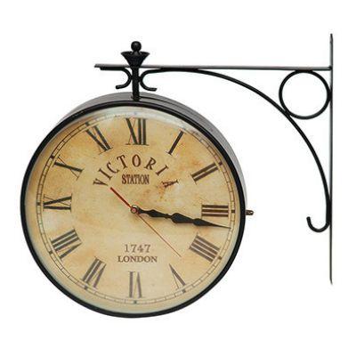 Тетчер Настенные часы с 2-мя циферблатами, корпус стальной сплав, на батарейках, 2289