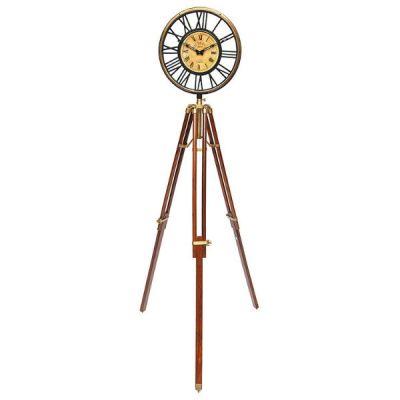 Тетчер Часы напольные, корпус из сплава аллюминия и латуни, сталь, на треноге из палисндра, на батарейках. 22022