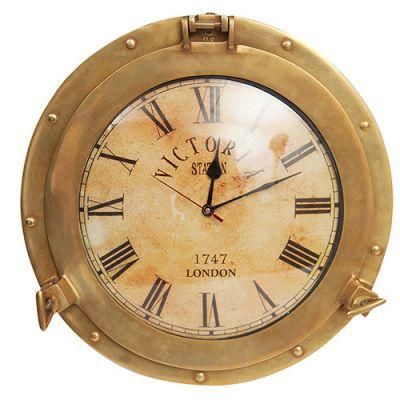 Тетчер Настенные часы иллюминатор, корпус латунь, на батарейках, 2220