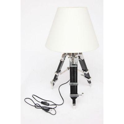 Тетчер Настольный светильник с абажуром( ткань) из сплава (латунь и аллюминий) на треноге из натурального палисандра. 46144