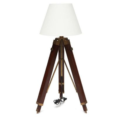 Тетчер Напольный светильник из латуни на треноге из натурального дерева. Абажур из ткани. 46112/46521