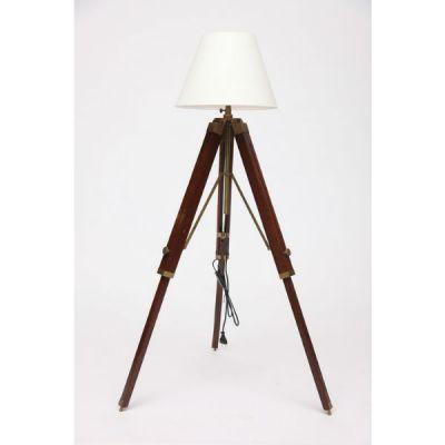 Тетчер Напольный светильник из сплава (латунь и аллюминий) на треноге из натурального палисандра. Абажур из ткани. 46132