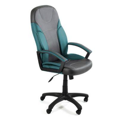 Офисное кресло Тетчер TWISTER кож/зам, металлик+т.бирюзовый, 36/36-27
