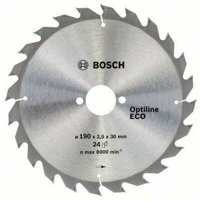 Диск Bosch пильный по дереву 190х30x24 OPTILINE ECO тв/сп 2608641789