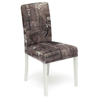 Стул Тетчер с мягким сиденьем и спинкой «Луна» (LINEA). Цвет дерева Белый, ткань Коричневый Париж