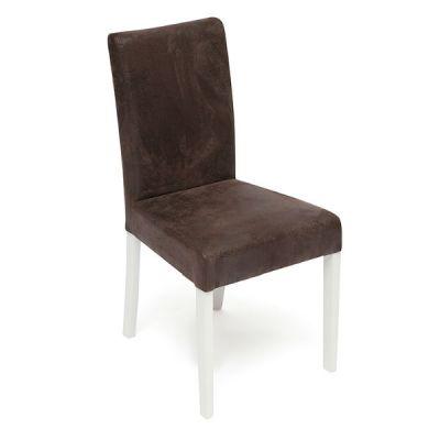 Стул Тетчер с мягким сиденьем и спинкой «Луна» (LINEA). Цвет дерева Белый, обивка эко кожа Коричневый Антик