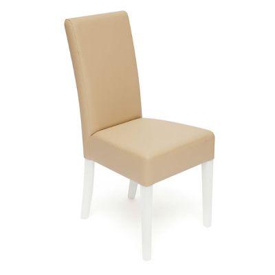 Стул Тетчер с мягким сиденьем и спинкой Diana (DITTA). Цвет дерева Белый, обивка эко кожа Бежевый