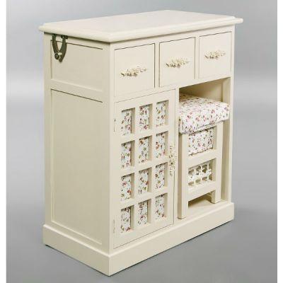 Комод Тетчер с 3-мя ящиками, зеркалом и табуретом 4311 Белый