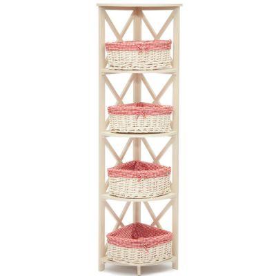 Тетчер Угловая этажерка PE-05 с 4мя корзинами, Белый