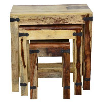 Тетчер Набор табуреток/столиков SAP-0077, цвет-натуральный, металл-чёрный