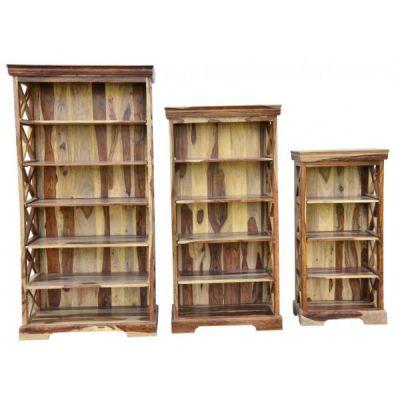 Тетчер Шкафы для книг (набор) SAP-0761A, цвет-натуральный, металл-чёрный