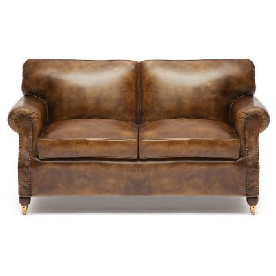 """Тетчер 2-ух местный диван 1193 от Golzmayer в стиле """"Лофт"""". Материал: кожа буйвола/натуральный палисандр. Античный темный"""