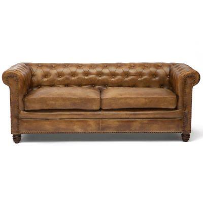 """Тетчер Диван 3-х местный диван 1175Т от Golzmayer в стиле """"Лофт"""". Материал: кожа буйвола/натуральный палисандр. Античный светлый"""