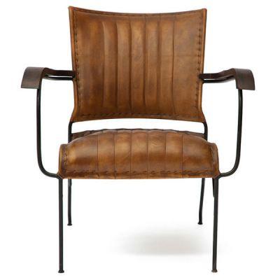"""Тетчер Кресло 2106 от Secret de Maison в стиле """"Лофт"""". Материал: кожа буйвола/стальная черная ковка. Античный светлый"""