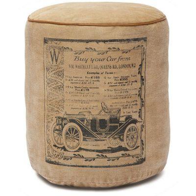 """Пуфик Тетчер 4622 от Secret de Maison в стиле """"Лофт"""". Материал: Хлопковая ткань/кожа буйвола. Натуральный с рисунком"""