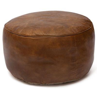 """Пуфик Тетчер 606 от Secret de Maison в стиле """"Лофт"""". Материал: кожа буйвола. Античный светлый"""